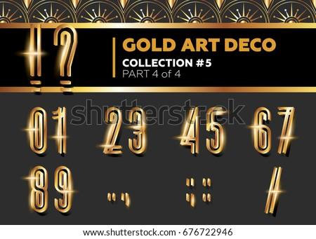 Vector Art Deco 3D Font. Shining Gold Retro Alphabet. Gatsby Style.  Metallic Vintage