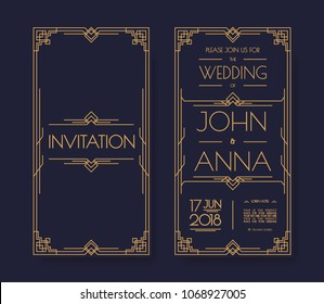 Vector art deco and arabic vintage wedding invitation template set with gold color frame line style for party, greeting card. 10 eps