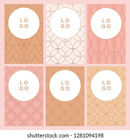 Vector art deco business card collection with nude pink colors
