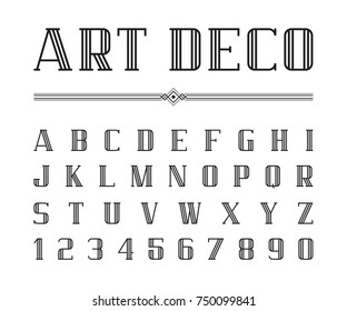 Vector of Art Deco font and alphabet, Condensed letters set. The Great Gatsby Style