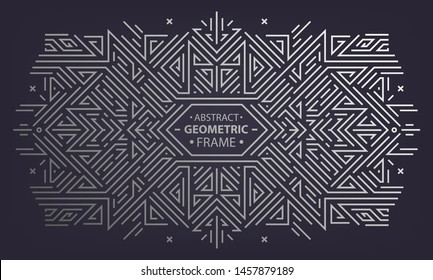 Vector art deco frame, abstract geometric design template for luxury products. Geometric silver background. Linear ornament composition, vintage. Use for packaging, branding, decoration, etc.