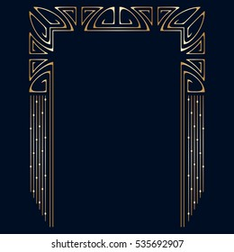 Vector art deco golden frame with space for text.