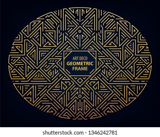 Vector Art deco golden oval border and frame. Creative templates in style of 1920s,  illustration. Trendy cover, graphic poster, gatsby brochure, design, packaging and branding. Geometric shape