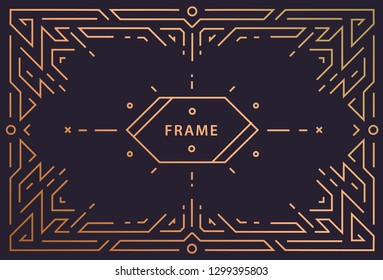 Vector art deco linear frame with space for text, geometric vintage wedding invitation design template, decorative background in mono line style. Label, badge, packaging, banner. Horizontal