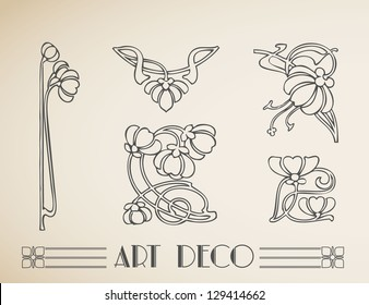 Vector art deco ornamental flower pattern