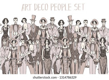 Vector art deco people set. Gatsby style set. Group of retro woman and man. design in 20's style. sketch style mafia and gangsters