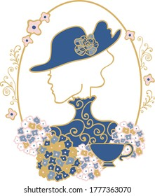 Vector Art deco tea party lady silhouette vintage placement print. Great for invitations, embroidery design and textile details.