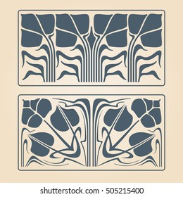 Vector art deco two floral square ornaments.