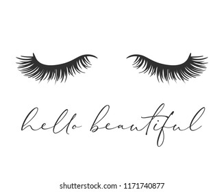 Vector art design, closed eye with long lashes, beautiful eyelashes. Fashion illustration, tee shirt slogan design