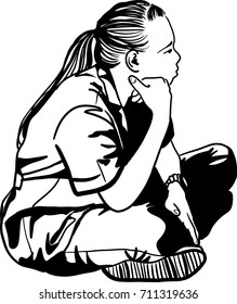 Vector art drawing of beautiful young sad teen girl sitting on floor