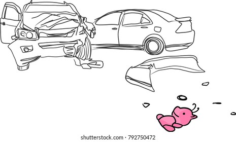 vector art drawing of car accident and pink doll