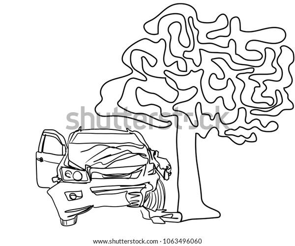Vector Art Drawing Car Crash Big Stock Vector (Royalty Free) 1063496060