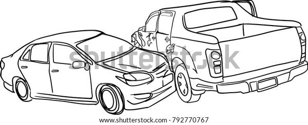 Vector Art Drawing Car Crash Accident Stock Vector Royalty Free