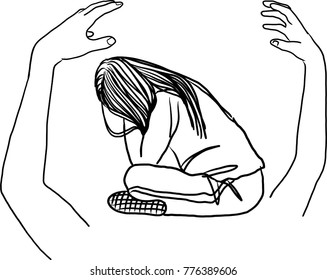 Vector art drawing of concept images with sad woman sitting alone with arms, Hug me written above open arms and hands,
