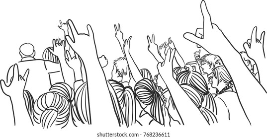 Vector art drawing of Concert Crowd Silhouette on white background