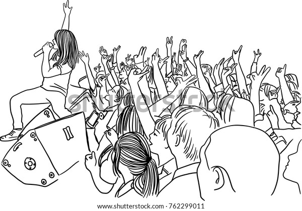 Vector art drawing of Crowd at concert Silhouette on white background
