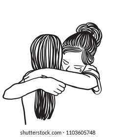 Vector art drawing of Crying woman hugging her friend on white background, Friendship help support.