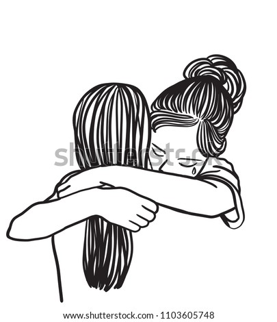 vector art drawing crying woman hugging stock vector royalty free