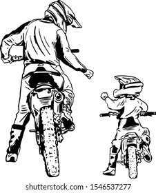 Vector art drawing Dad and Son motorbike best friend