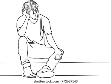 Vector art drawing of Frustrated young man touching his head and keeping eyes closed while sitting on floor, sad young man sitting alone on white background