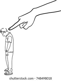 Vector art drawing of Hand pointing to blame young man on white background, business vector illustration