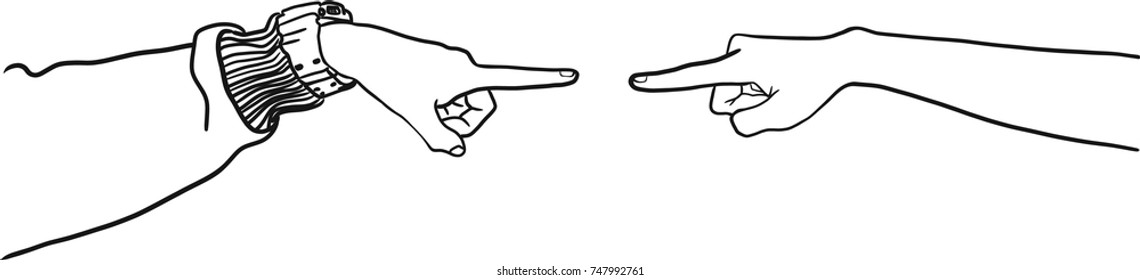 Vector art drawing of Hands pointing fingers at each other on white background. Blame concept.
