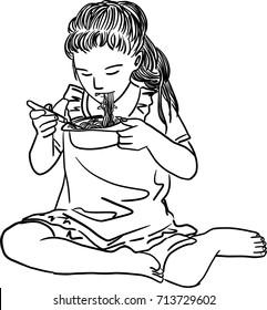 Vector art drawing of little girl eating noodles using fork