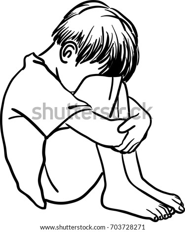 vector art drawing lonely sad child stock vector royalty free Makeup Face Art vector art drawing of lonely sad child and hug his knees sitting on the floor