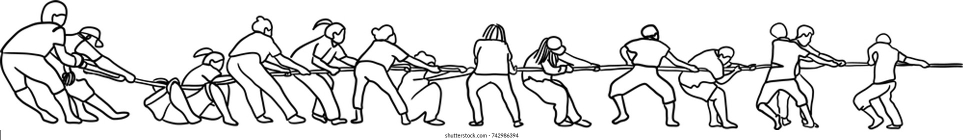 Vector art drawing of People In Tug Of War, partnership concept