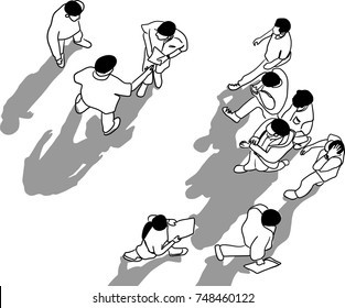 Vector art drawing of people walk on white background from top view, bird eye view, wide angle of aerial top view