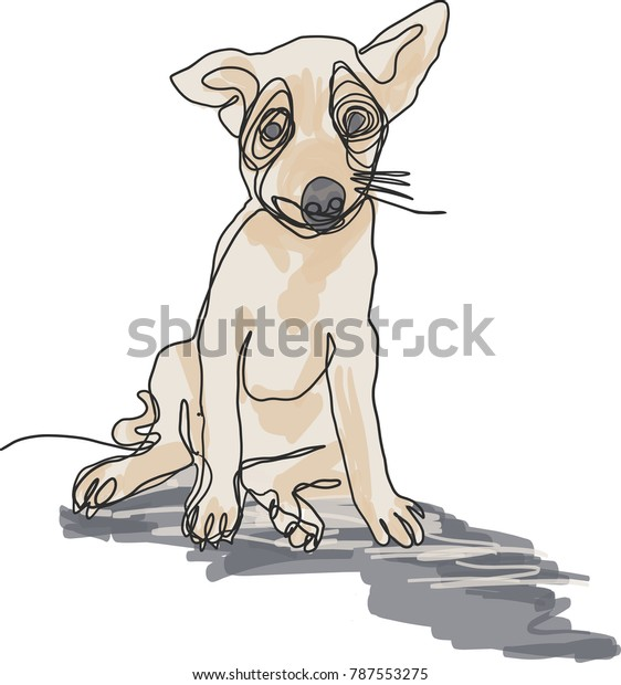 Vector Art Drawing Pet Sad Dog Stock Vector (Royalty Free) 787553275