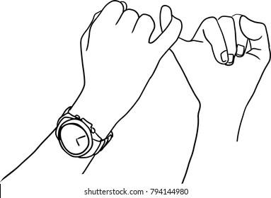 Vector art drawing of pinkie promise , Man and woman making a pinkie promise.