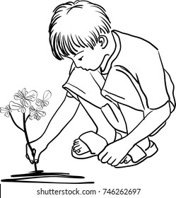 Vector art drawing of planting young tree by little boy hand on back soil as care and save wold and ecology concept