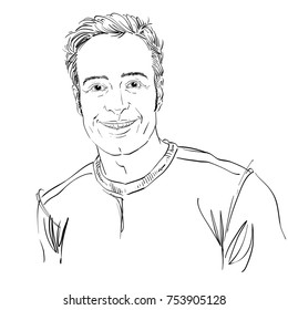 Vector art drawing, portrait of smiling jolly guy isolated on white. Facial expressions, people positive emotions. Happy male portrait.