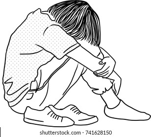 Vector art drawing of Sad teenager young woman desperate hiding her face sitting on floor on white background,  sad woman hugs her knee