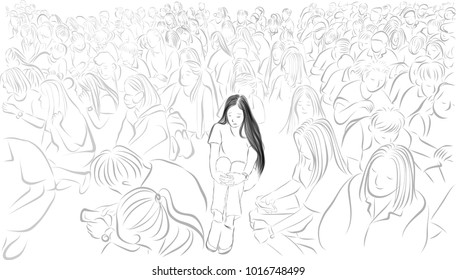 Vector art drawing of sad woman sitting on a floor in the middle of a group, young woman sitting alone in a crowd.