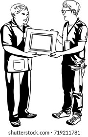 Vector art drawing of Senior businessman handing a certificate, award winning, to younger man.