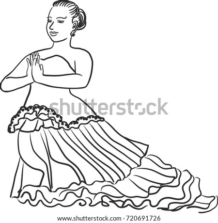 vector art drawing thai traditional dancing stock vector royalty Vacation Sites in Thailand vector art drawing of thai traditional dancing in votive offering to brahma hindu god