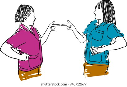Vector art drawing of two angry woman pointing fingers at each other and blaming for problems on white background. Interpersonal conflict resolution. Human emotions and facial expressions.