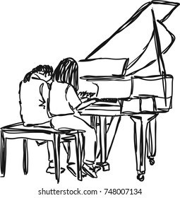 Vector art drawing of two woman playing piano,sitting side by side on white background