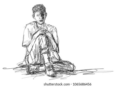 Vector art drawing of Very sad young man sitting alone on white background, Depressed young man sitting