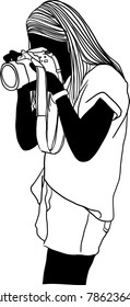 Vector art drawing of Young woman taking photo using a DSLR with digital camera.