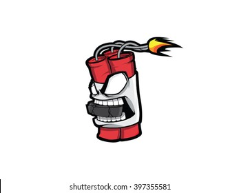 Vector art dynamite mascot with hokey puck in the mouth