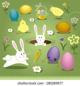 Vector Art Elements Easter Bunny Chicks Eggs Basket