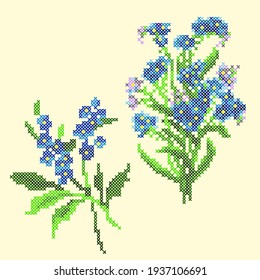 vector art embroidery blue flowers