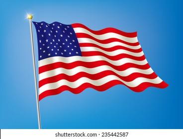 Vector art flags waving illustration: USA