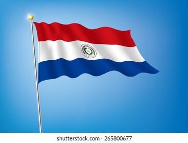 Vector art flags waving illustration: Paraguay