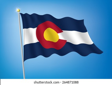 Vector art flags waving illustration:Colorado