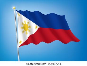 Vector art flags waving illustration:Philippines
