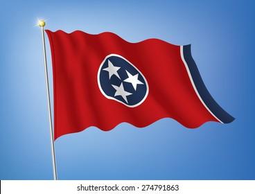 Vector art flags waving illustration:Tennessee